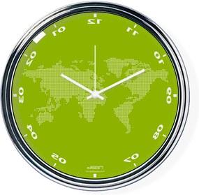 Ceas invers cu o hartă mondială - verde, diametru 32 cm | DSGN