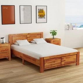Cadru de pat cu 2 noptiere, 140 x 200 cm, lemn masiv de acacia