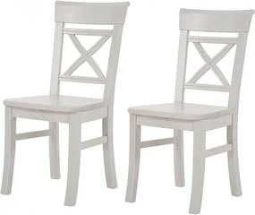 Set de 2 scaune Fjord din lemn masiv de pin nordic, alb, 45 x 94 x 43 cm
