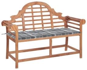 3062249 vidaXL Bancă grădină, cu pernă gri model carouri, 120 cm, lemn masiv tec