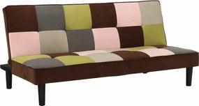 Colţar extensibil, material textil alb/maro/galben, ARLEKIN