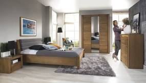 Set Mobila Dormitor din furnir si pal, cu pat 200 x 160 cm, 5 piese Velvet Stejar Rustic / Gri