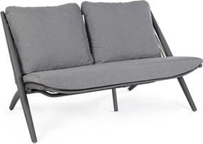 Canapea 2 locuri picioare fier cu tapiterie material textil gri Aloha 144.5 cm x 80 cm x 86 h x 44 h1 x 81 h3