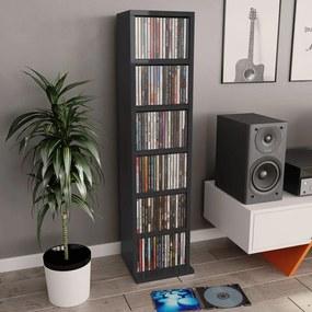 800358 vidaXL Dulap CD-uri, negru extralucios, 21 x 20 x 88 cm, PAL