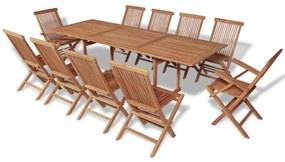 Set mobilier de exterior, 11 piese, lemn de tec