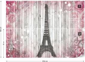 Fototapet GLIX - Eiffel Tower Paris Roses Flowers Vintage + adeziv GRATUIT Tapet nețesute - 254x184 cm