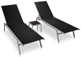48012 vidaXL Șezlonguri de plajă cu masă, 2 buc., negru, oțel & textilenă