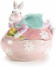 Ou Paste cu model Iepuras ceramica roz albastru cm 14 x 10 cm x 15 H