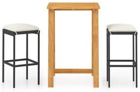 3067947 vidaXL Set mobilier bar de grădină cu perne, 3 piese, negru