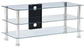 280095 vidaXL Stativ TV, transparent, 90x40x40 cm, sticlă securizată