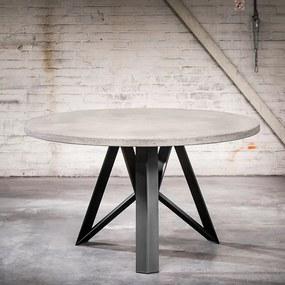 masă industrială rotundă 150x4 aspect beton cu picior negru Aquila - Rockefeller