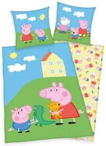 Lenjerie de pat 2 piese Peppa Pig pentru copii reversibila