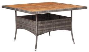 46188 vidaXL Masă de exterior, gri, poliratan și lemn masiv de acacia