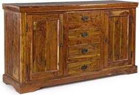 Comoda 4 sertare si 2 usi din lemn natur Chateaux 150 cm x 45 cm x 86 h
