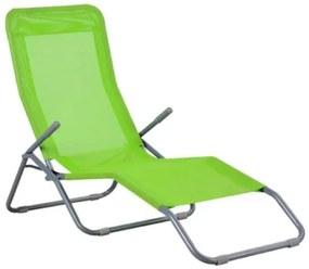 Sezlong de gradina, metalic, reglabil, verde, 189x57x30/96 cm