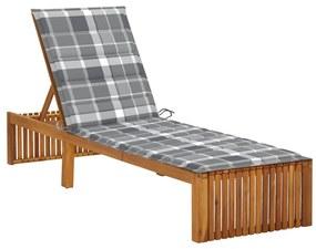 3064163 vidaXL Șezlong cu pernă, lemn masiv de acacia