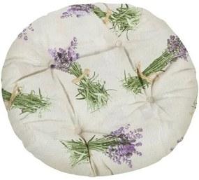Pernă brodată rotundă Ema Buchet de lavandă, 40 cm