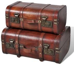 240575 vidaXL Cufăr vintage din lemn, 2 bucăți, maro