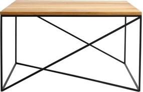 Măsuță de cafea cu blat din lemn de stejar Custom Form Memo, 100 x 100 cm, negru-natural