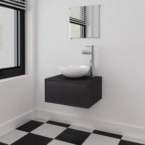 273685 vidaXL Set mobilier baie 4 piese cu chiuvetă și robinet incluse, Negru