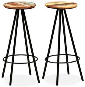 245445 vidaXL Scaune de bar, 2 buc., lemn masiv reciclat
