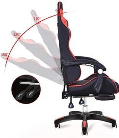 Scaun gaming SIG838 Cu suport de picioare Negru+rosu