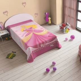 Cuvertura pat roz cu printesa 160 x 220 cm