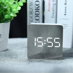 Mini ceas desteptator LED cu termometru si oglinda, patrat