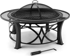 Blumfeldt Ronda, Ø95cm, vatră de oțel cu gril, protecție împotriva flăcărilor, lustruit