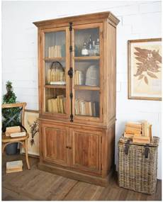 Vitrină din lemn de pin Orchidea Milano Natural, înălțime 205 cm