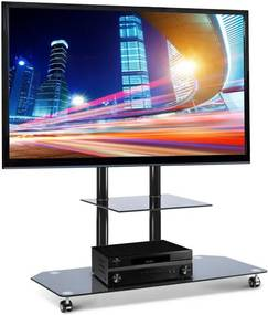 Electronic-Star Stand pentru Home Cinema cu suport pentru TV şi rafturi din sticlă neagră