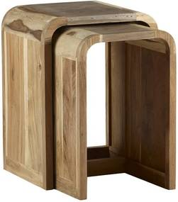 Set de 2 mese laterale Giovani, lemn, maro