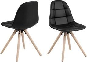 Scaun dining cu picioare din lemn de stejar Actona Lotta, negru