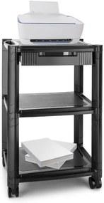 Auna P-STAND, negru, măsuță cu roți pentru imprimantă, priză, trei sertare de depozitare