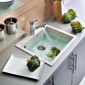 Chiuveta bucatarie granit CookingAid Cube ON5610 Alba / Polar White + accesorii montaj