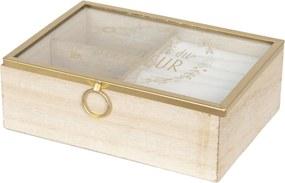 Caseta bijuterii lemn natur cu sertar compartimentata 18x6x13 cm