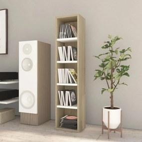 800428 vidaXL Dulap pentru CD-uri, alb și stejar Sonoma, 21x16x93,5 cm, PAL