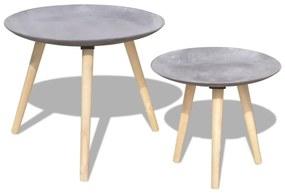 243010 vidaXL Set masă laterală/masă de cafea, 2 piese, 55 & 44 cm, gri beton