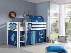 Pat etajat din lemn de pin, cu tunel si spatiu de joaca pentru copii Pino Plus Astro Alb, 200 x 90 cm