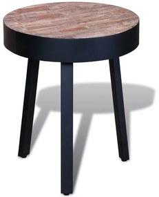 241713 vidaXL Masă de capăt rotundă, lemn de tec reciclat