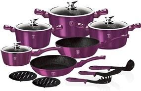 Set oale marmorate 15 piese Purple Royal Metalic Line Berlinger Haus BH 1662N