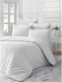 Lenjerie de pat din bumbac satinat Line, 140 x 200 cm, alb