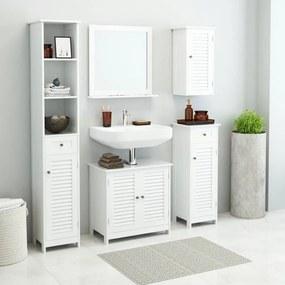 Set mobilier pentru baie, 5 piese Alb