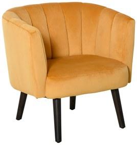 HOMCOM Fotoliu din Catifea pentru Sufragerie Fotoliu scaun pentru Dormitor Galben