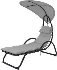 Sezlong Canapea cu Umbrela, pentru Terasa, Curte sau Gradina, Capacitate 150kg, Gri