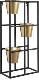 Etajera perete 3 suporturi ghiveci fier negru auriu 30 cm x 15.5 cm x 60 h