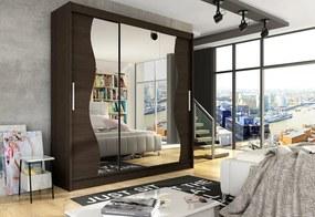 Expedo Dulap dormitor cu uşi glisante LUKAS S cu oglindă, 250x215x58, ciocolată