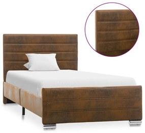 286800 vidaXL Cadru de pat, maro, 100 x 200 cm, piele întoarsă ecologică