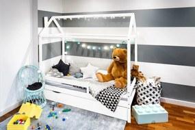 Pat pentru copii Casa Paul - Alb 200x90 cm pat + spațiu de depozitare