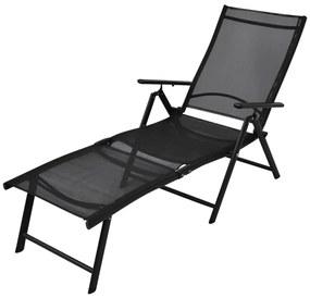 Șezlong pliabil din aluminiu, 178 x 63,5 x 96 cm, negru